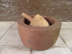 Vintage wood mortar and pestle- rustic, crack in pestle but solid and functional by HeathersCollectibles on Etsy