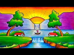 How to Draw Step by Step Easy Scenery || This So Simple & Easy Scenery - YouTube Landscape Drawing For Kids, Nature Drawing For Kids, Easy Scenery Drawing, Drawing Sunset, Drawing Lessons For Kids, Easy Drawings For Kids, Painting For Kids, Oil Pastel Drawings Easy, Art Drawings Sketches Simple