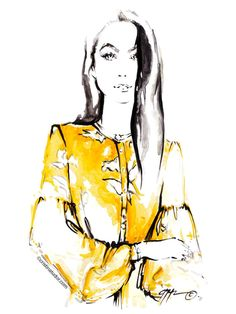 My fashion portrait of Brittany Xavier. Chriselle Lim mustard yellow dress, Just One Answer, Nordstrom cristinatudor.com #thecristinatudor Cristina Tudor Art @thecristinatudor portrait, minimal watercolor, wedding, bride, bride portrait, modern bride, bride art, bride style, wedding ideas, wedding gifts, bride drawing, bride illustration, wedding hairstyles, elegant wedding, wedding planner ✨ #cristinatudorart #bride #brittanyxavier #thriftsandthreads #chrisellelim #justoneanswer #nordstrom