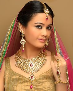 Kundan set with nose ring by Saffron and Silk
