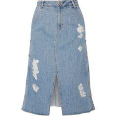 Steve J & Yoni P Distressed denim midi skirt (1 585 PLN) ❤ liked on Polyvore featuring skirts, denim, denim skirt, light blue, distressed denim midi skirt, calf length skirts, distressed denim skirt, blue metallic skirt and mid calf skirts