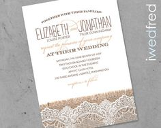 SAMPLE Printed Burlap & Lace  Wedding Invitation Suite by iwedfred