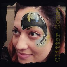 Batman eye design! Face painting by Glitter Goose. Design by Monique Lily.