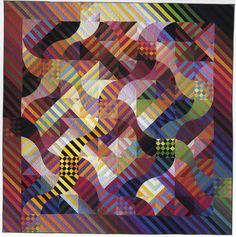 """""""rhythm/color: morris men"""" art quilt, by michael james (1986), from kathleen loomis' art with a needle blog"""
