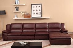 Cofonia Modern Wine Red Leather Corner Sofa(1+3+left chaise) - MelodyHome.com