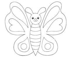 Dibujo de Mariposas para imprimir y colorear!: Simpático dibujo para imprimir y colorear una mariposa