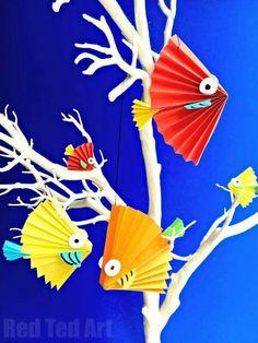 Love these paper fan fish. So easy to make too http://www.redtedart.com/paper-fan-fish/