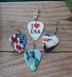 Patriotic Earrings - Eagle with Flag, Waving Flag, I Love USA or Statue of Liberty - Guitar Pick - Pierced or Clip On