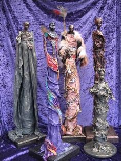 Most of the sculptures shown are completed using a textile hardener, Powertex. Refer to the Powertex page for product information. Cheryl, Faeries, Statues, Sculpting, Attitude, Textiles, Wall Art, Gallery, Inspiration