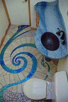 5 Most Beautiful Mosaic Bathroom Tile Design Bathroom Sink Design, Mosaic Bathroom, Mosaic Diy, Bathroom Interior Design, Mosaic Tiles, Art Tiles, Downstairs Bathroom, Design Kitchen, Bathroom Designs
