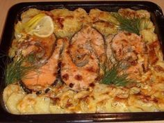 Baked Trout With Potatoes Casserole Recipe ~ Food Network Recipes Pizza Recipes, Veggie Recipes, Fish Recipes, Seafood Recipes, Salad Recipes, Chicken Recipes, Cooking Recipes, Healthy Recipes, Lunch Recipes