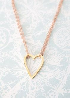 Golden Heart on Rose Gold Chain Necklace simple