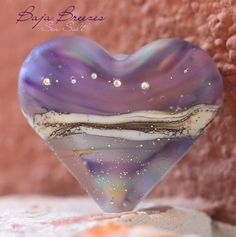 NEW! Baja Breezes Sea Salt Heart (1) handmade glass #lampwork bead | beadsandbotanicals - #Beads on ArtFire, pst... pass it on...