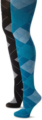 MUSIC LEGS Womens 2 Pack Opaque Woven Argyle Pantyhose BlueGrey One Size *** Details can be found by clicking on the image.