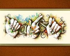 """aint covered hands were the inspiration for this piece. """"Art"""" is spelled out using the ASL alphabet since the word . Sign Language Art, Sign Language For Kids, American Sign Language, Arte Libra, Deaf Art, Deaf Culture, Hand Art, Teaching Art, Art Lessons"""