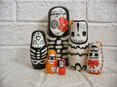 handmade+wood+folk+art++toy+nesting+dolls...+Bare+by+mooshoopork,+$200.00