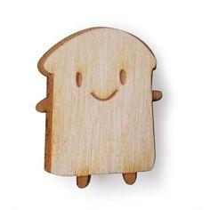 Wooden Brooch - Kawaii Bread Slice £8.00