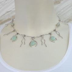 Sterling Silver Amazonite Drop Necklace Wire Wrapped OOAK Artisan Gemstone Jewelry Handmade Pastel Green Fringe Delicate Short Elegant. $179,00, via Etsy.