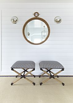 Bay Head Beach Bungalow || Rope Mirror & Striped Stools || Chango & Co.