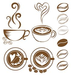 Coffee cup set vector froth by Rattikankeawpun on VectorStock®