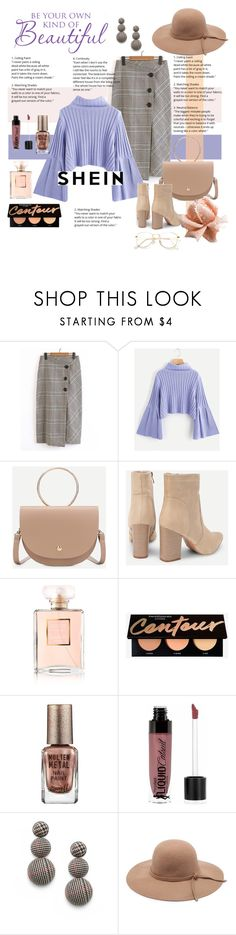 """""""Shein Rib Knit Fluted Sleeve Jumper"""" by katarinaf ❤ liked on Polyvore featuring Chanel, Barry M and Wet n Wild"""