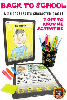 If you're looking for some ice-breaker Get to Know Me activities with a Tech Twist, then try iPortraits.  7 Templates that look like a tablet.  Students can introduce themselves with their character traits, or their favorite vacation book or even of their travels during vacation.  Great way to incorporate creativity and get to know your students!  Check out the PREVIEW now!