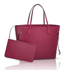 Add color to your wardrobe with the iconic Louis Vuitton Neverfull, now available in Epi Fuschia.