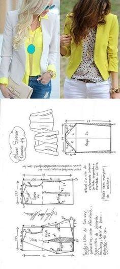 How to Make a Gathered Skirt - A Tutorial - Craft & Patterns Blazer spencer sem gola Coat Patterns, Dress Sewing Patterns, Clothing Patterns, Diy Fashion No Sew, Fashion Sewing, Blazer Pattern, Jacket Pattern, Diy Clothing, Sewing Clothes