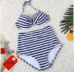 Simple Halter High-Waisted Striped Design Women's Bikini Set