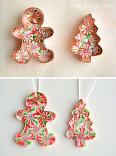 These melted peppermint candy ornaments are ADORABLE and they're super easy to make! Such a fun and inexpensive homemade Christmas ornament idea! Kids Christmas Ornaments, Candy Christmas Decorations, Christmas Crafts For Kids, How To Make Ornaments, Homemade Christmas, Diy Christmas Gifts, Holiday Crafts, Christmas Candy, Homemade Ornaments