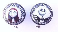 Nightmare Before Christmas Black Damask Drawer Pull Jack Skellington Sally Knob