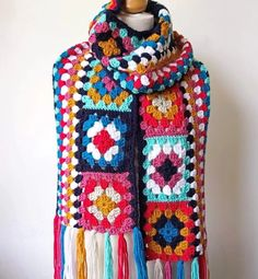 Granny Square Scarf – Easy Free Pattern – Annie Design Crochet The Effective Pictures We Offer You About Crochet doilies A quality picture. Granny Square Scarf, Granny Square Projects, Flower Granny Square, Granny Square Crochet Pattern, Crochet Stitches Patterns, Crochet Granny, Granny Squares, Crochet Scarf Easy, Crochet Shawls And Wraps
