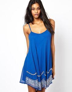Image 1 ofTFNC Swing Cami Slip Dress With Embellished Trim
