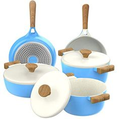 Vremi 8 Piece Ceramic Nonstick Cookware Set Induction Stovetop Compatible Dishwasher Safe Non Stick Pots and Frying Pans with Lids Dutch Oven Pot Fry Pan Sets for Serving PTFE PFOA Free Blue >>> Click image for more details. (This is an affiliate link) Kitchen Cookware Sets, Bakeware Sets, Rachel Ray, Hot Pot, Home Design, Pots And Pans Sets, Induction Cookware, Kitchens