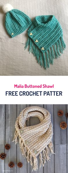 Malia Buttoned Shawl Free Crochet Pattern : Free Crochet Patterns