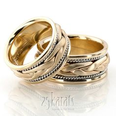 Hand Braided Wedding Band Set