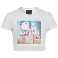 Thugs Mansion Crop Tshirt ❤ liked on Polyvore featuring tops, t-shirts, shirts, white t shirt, white tee, babydoll t shirts, white shirt and t shirts