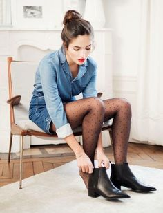Cute.Polka dot tights and denim on denim outlook. High bun and red lips. Complete.