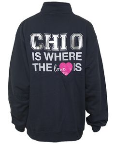 We can customize any design in our gallery for your sorority, fraternity, or event; including this Chi Omega Heart Half Zip Sweatshirt. Want to start from scratch? We can do that too! ♥ Adam Block Design | Custom Greek Apparel & Sorority Clothes | www.adamblockdesign.com