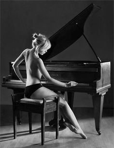Piano and beautiful lady