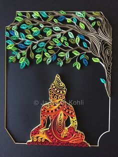 Shop for one of a kind, unique handmade paper quilling art by Jasmeet Kohli Diy Quilling Crafts, Paper Quilling Cards, Paper Quilling Patterns, Paper Quilling Jewelry, Origami And Quilling, Quilled Paper Art, Quilling Art, Paper Crafts, Paper Quilling For Beginners