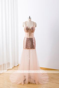 Prom DressSequin Long Rose Gold Prom Evening by Everisa on Etsy