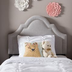Baxton Studio Rhea Modern and Contemporary Twin Size Fabric Upholstered Headboard