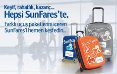 SunExpress ile keyif, rahatlık, kazanç… SunEco, SunClassic ve SunPremium'dan birini ihtiyacınıza göre seçin; almak istediğiniz hizmete göre biletinizi alın. SunFares'i keşfetmek için hemen tıklayın! www.flysxs.com/df/