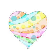 Pretty Pastel Bubbles Heart Stickers