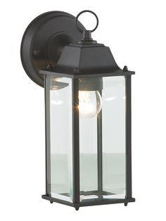 Made from high quality die cast aluminium with a matte black, powder coated finish and four bevelled glass panels, our rectangular wall lantern features a simple wall fixing and decorative ring top. This durable, weather resistant lantern is in Outdoor Wall Lantern, Outdoor Wall Lighting, Outdoor Lights Uk, Black Wall Lights, Coach Lights, Exterior Wall Light, Lantern Designs, Beveled Glass, Light Fittings