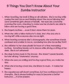 Everything you need to know about zumba Zumba love !! So true :) More