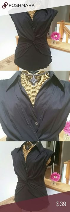 """Trina Turk gorgeous black blouse P Trina Turk top Sz P Black Collar with V neck...criss cross layers of material Skeevekess Side zipper...fitted style...material jas stretch  Underarm to underarm 16"""" unstretched  Top of shoulder to hem 22.5"""" New without tags Trina Turk Tops Blouses"""