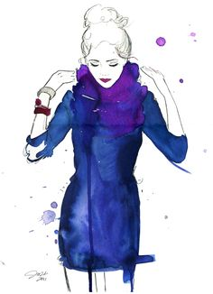 Jelena, watercolor and pen. Inspired by a photo I found here on pinterest.com #fashion #illustration #watercolor