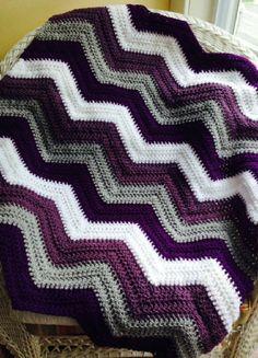 new chevron zig zag ripple baby blanket by JDCrochetCreations